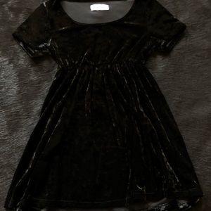 American Apparel Black Velvet Babydoll Dress